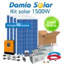 Kit solar 1500W ECO: TV, microondas, frigorífico, portátil. PURA e CARREGADOR