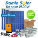 Kit solar 2500W ECO Uso Diario: Nevera Congel., lavadora, microondas.. ONDA PURA