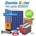 Kit solar 2500W: TV, frigorifico congelador, máquina de lavar.. ONDA PURA