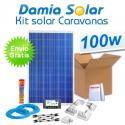 Kit solar completo para caravanas 100W. Con regulador para carga de 2 baterías