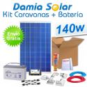 Kit solar completo para caravanas 140W + Batería AGM