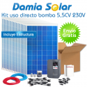 kit solar para uso directo de bomba de agua 5,5CV 230V trifásica