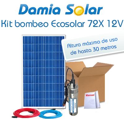 Kit Bombeo Ecosolar 72x 12v - Caudal Máx. 720 Litros/hora.
