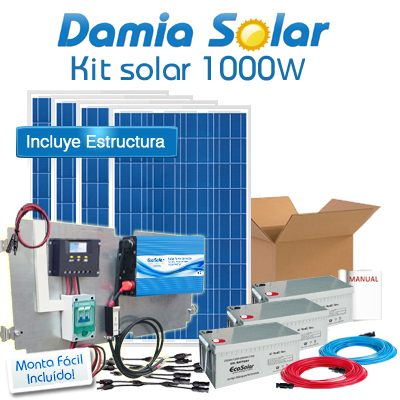 Kit Solar 1000W Uso Diario: Nevera Con Congelador, Luz, Tv. Onda Pura Blue