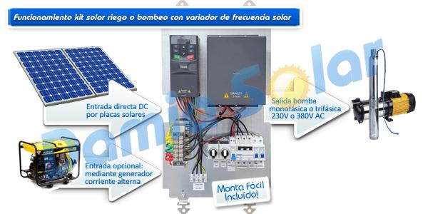 Kits de riego con variador de frecuencia solar. Con preinstalación Monta Fácil!