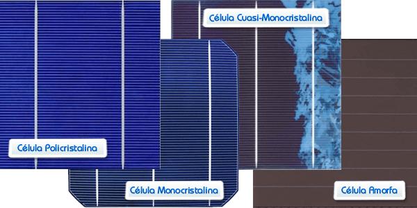 Comparativa: panel solar poli, panel mono, panel cuasi-mono, y panel amorfo
