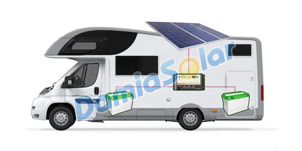 Kit solar de autocaravana con regulador de carga de 2 baterías independientes