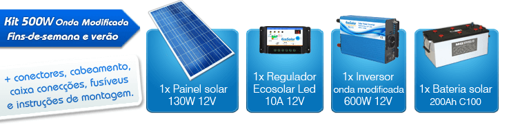 kit solar 500w luz e tv com inversor onda modificada