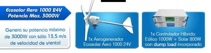 aerogenerador ecosolar aero 1000 24v - potencia max  3000w