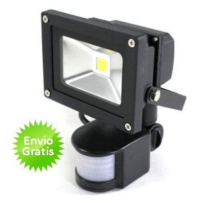 Foco led de 10w con sensor movimiento y luz for Detector movimiento exterior