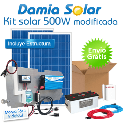Kit solar 500W Uso Diario: Luz, TV, Portátil. ONDA MODIFICADA