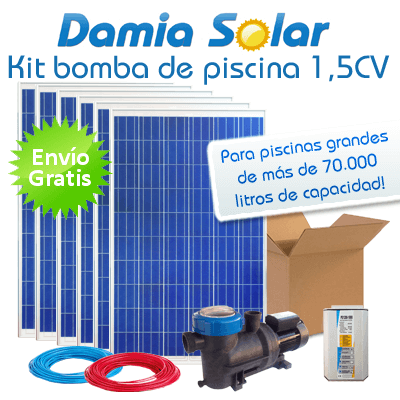 Kit solar bomba depuradora de piscina bomba 1 5 cv for Kit de piscina