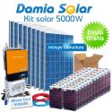 Kit solar 5000W Uso Diario: Placa inducción, Nevera-Congelador, lavadora...
