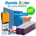 Kit solar 4000W Uso Diario: Nevera congelador, TV, microondas, lavadora, etc...