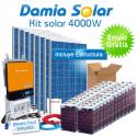 Kit solar 4000W Uso Diário: Frigo congelador, TV microondas, máquina lavar..