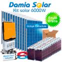 Kit solar 6000W Uso Diario: Placa inducción, Nevera-Congelador, lavadora, TV...