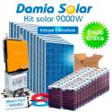 Kit solar 9000W Uso Diario: Placa inducción, Nevera-Congelador, lavadora, TV...