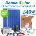 Kit solar completo para caravanas 540W 12V + Batería de Gel