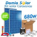 Kit solar completo para caravanas 680W a 12V (2 x Paneles de 340W 24V)
