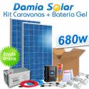 Kit solar para caravanas 680W 12V + Batería Gel (2 x Paneles de 340W 24V)