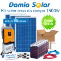 Kit de casa de campo 1500W com bateria estacionaria