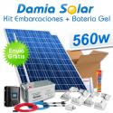 Kit solar para embarcaciones 560W 12V + Batería de Gel (2 x Paneles 280W 24V)