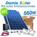 Kit solar completo para embarcaciones 560W a 12V (dos paneles de 280W 24V)