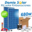 Kit solar completo para embarcaciones 680W a 12V (2 x Paneles de 340W 24V)