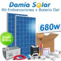 Kit solar para embarcaciones 680W 12V + Batería Gel (2 x Paneles de 340W 24V)