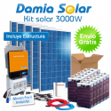 Kit solar 3000W: Luz, TV, nevera congelador, lavadora, etc. ONDA PURA y CARGADOR