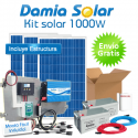Kit solar 1000W: nevera con congelador, luz, TV. ONDA PURA BLUE