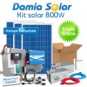 Kit solar 800W Uso Diario: nevera con congelador, luz, TV. ONDA PURA BLUE