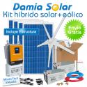 Kit híbrido solar + eólico 1300W Uso Diario: Nevera, TV, luz, etc