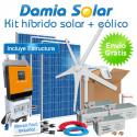 Kit híbrido solar + eólico 2000W Uso Diario: Frigo, lavadora, microondas, bomba