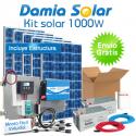 Kit solar 1000W Uso Diario Cuasi-Mono: Frigorífico, luz, TV. ONDA PURA BLUE