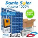 Kit solar 1000W Uso Diario Cuasi-Mono: Frigorífico, luz, TV. PURA y CARGADOR