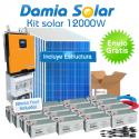 Kit solar 12000W ECO Uso Diario: Inducción, Nevera Combi, Aire acondicionado..