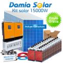 Kit solar 15000W Uso Diario: Placa inducción, Frigorífico, Aire acondicionado..
