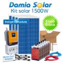 Kit solar 1500W: Luz, TV, microondas, nevera, portátil. ONDA PURA y CARGADOR