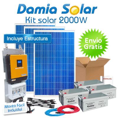 Kit solar 2000W ECO: TV, nevera congelador, lavadora, etc. ONDA PURA y CARGADOR