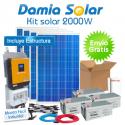 Kit solar 2000W ECO Uso Diario: Nevera Congel., lavadora, microondas.. ONDA PURA