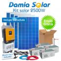 Kit solar 2500W ECO: TV, nevera congelador, lavadora, etc. ONDA PURA y CARGADOR