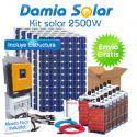 Kit solar 2500W: Luz, TV, nevera congelador, lavadora, etc. ONDA PURA y CARGADOR