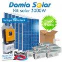 Kit solar 3000W ECO Uso Diario: Nevera Congel., lavadora, microondas.. ONDA PURA