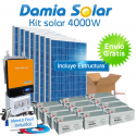 Kit solar 4000W ECO Uso Diario: Nevera congelador, TV, lavavajillas, DVD, etc