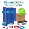 Kit solar 500W Uso Diário: Luz, TV, Portátil. ONDA MODIFICADA
