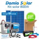 Kit solar 800W: Luz, TV, DVD, portátil ,minicadena. Inversor ONDA MODIFICADA