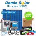 Kit solar 800W Uso Diário: luz, TV, portátil, DVD, música. ONDA MODIFICADA