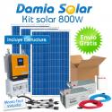 Kit solar 800W: Luz, TV y nevera. Con inversor ONDA PURA y CARGADOR