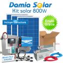 Kit solar 800W: frigo congelador, luz, TV. ONDA PURA BLUE
